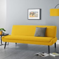 Product photograph showing Greensburg Linen Fabric Sofabed In Mustard With Black Tapered Legs
