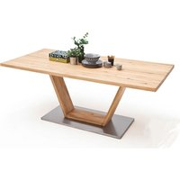 Greta Large V-Leg Straight Edge Dining Table In Solid Oak
