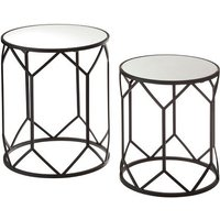 Product photograph showing Greven Mirror Tops Side Tables Round In Black Steel Frame