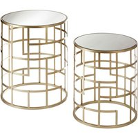 Product photograph showing Greven Mirror Top Set Of 2 Side Tables Round In Champagne Steel