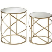 Product photograph showing Greven Mirror Top Set Of 2 Accent Tables In Champagne Steel