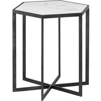 Product photograph showing Gripo Marble Hexagonal Side Table In White With Black Metal Base