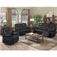 Gruis LeatherGel And PU Recliner Sofa Suite In Black