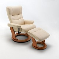 Product photograph showing Gumala Recliner Leather Armchair In Cream With Footstool