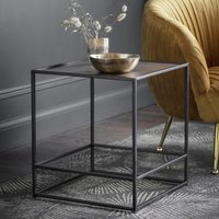 Product photograph showing Hadston Metal Side Table In Antique Gold