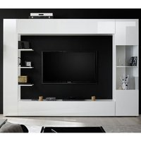 Product photograph showing Halcyon Large Entertainment Unit In White High Gloss