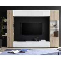 Product photograph showing Halcyon White Gloss Large Entertainment Unit In Cadiz Oak