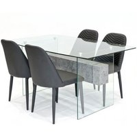 Halley Glass Dining Table Rectangular And 4 Black Chairs