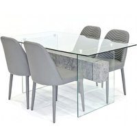 Halley Glass Dining Table Rectangular In Clear And 4 Grey Ch