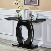 Product photograph showing Halo Black High Gloss Console Table In Milano Effect