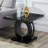 Product photograph showing Halo Black High Gloss Lamp Table In Milano Effect