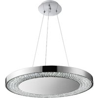 Halo LED Pendant Light In Chrome With Clear Crystal Decorati