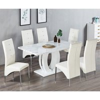 Halo Shiny Vida Marble Effect Dining Table 6 Vesta White Chairs