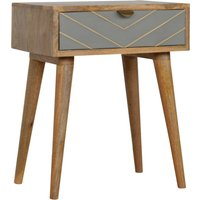 Product photograph showing Hamish Wooden Sleek Cement Bedside Cabinet In Oak Ish 1 Drawer