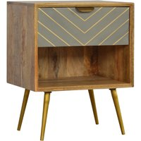 Product photograph showing Hamish Wooden Sleek Cement Bedside Cabinet In Oak Ish Open Slot