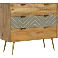 Product photograph showing Hamish Wooden Sleek Cement Chest Of 3 Drawers In Oak Ish