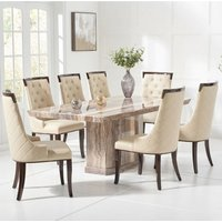 Hamlet Marble Large Dining Table In Brown With Six Tulip Chairs