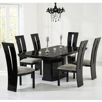 Hamlet Marble Dining Table In Black And 8 Ophelia Grey Chairs
