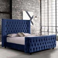 Hammond Plush Velvet Single Bed In Blue