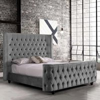 Hammond Plush Velvet Single Bed In Grey