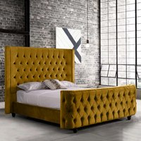 Hammond Plush Velvet Single Bed In Mustard