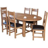 Product photograph showing Hampshire Extending Oval Dining Set With 6 Chairs
