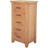 Hampshire Wooden Tall Chest Of Drawer In Oak With 5 Drawer