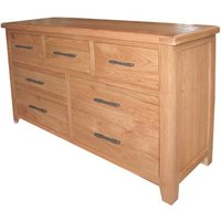 Hampshire Wooden Wide Chest Of Drawer In Oak With 7 Drawer