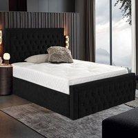 Hankinson Plush Velvet Upholstered Single Bed In Black