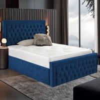 Hankinson Plush Velvet Upholstered Single Bed In Blue