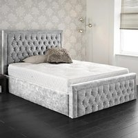 Hankinson Plush Velvet Upholstered Single Bed In Grey