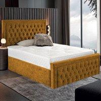 Hankinson Plush Velvet Upholstered Single Bed In Mustard