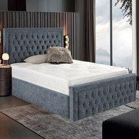 Hankinson Plush Velvet Upholstered Single Bed In Steel