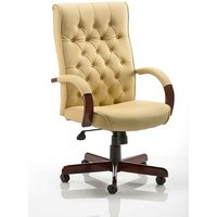 Product photograph showing Hanner Bonded Leather Chesterfield Executive Chair In Cream
