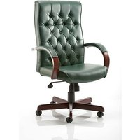 Product photograph showing Hanner Bonded Leather Chesterfield Executive Chair In Green