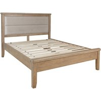 Hants Fabric Headboard Low End Double Bed In Smoked Oak