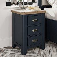 Hants Large Wooden 3 Drawers Bedside Cabinet In Blue