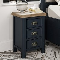 Hants Small Wooden 3 Drawers Bedside Cabinet In Blue