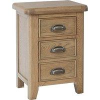 Hants Small Wooden 3 Drawers Bedside Cabinet In Smoked Oak