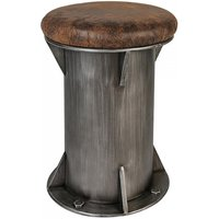 Product photograph showing Harbour Brown Leather Seat Stool With Anthracite Metal Base