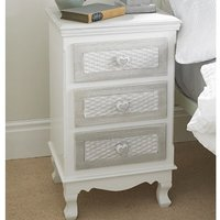 Harerra Bedside Cabinet In White And Grey With 3 Drawers
