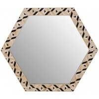 Product photograph showing Harla Hexagonal Wall Bedroom Mirror In Black And Ivory Frame