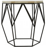 Product photograph showing Harla Wooden Hexagonal Top Side Table In Black And Ivory