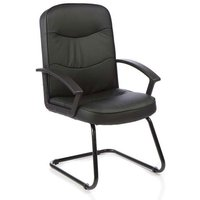 Harley Leather Office Visitor Chair In Black With Arms
