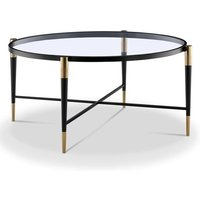 Product photograph showing Harlinne Glass Coffee Table With Black And Brass Legs