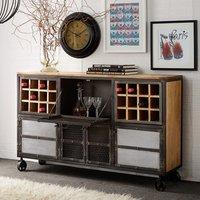 Harlow Display Wine Cabinet In Solid Hardwood Reclaimed Metal