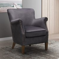 Product photograph showing Harlow Velvet Upholstered Vintage Armchair In Charcoal Grey