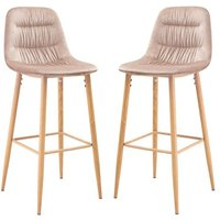 Product photograph showing Harper Beige Finish Bar Stool In Pair