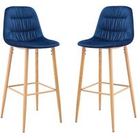 Product photograph showing Harper Blue Finish Bar Stool In Pair
