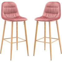 Product photograph showing Harper Pink Finish Bar Stool In Pair